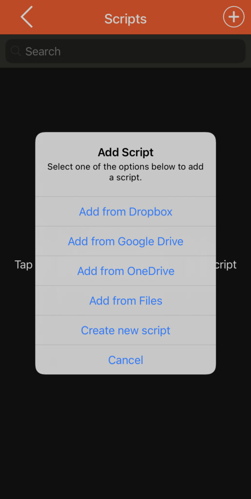 You can import scripts from Dropbox, Google Drive, iCloud and OneDrive