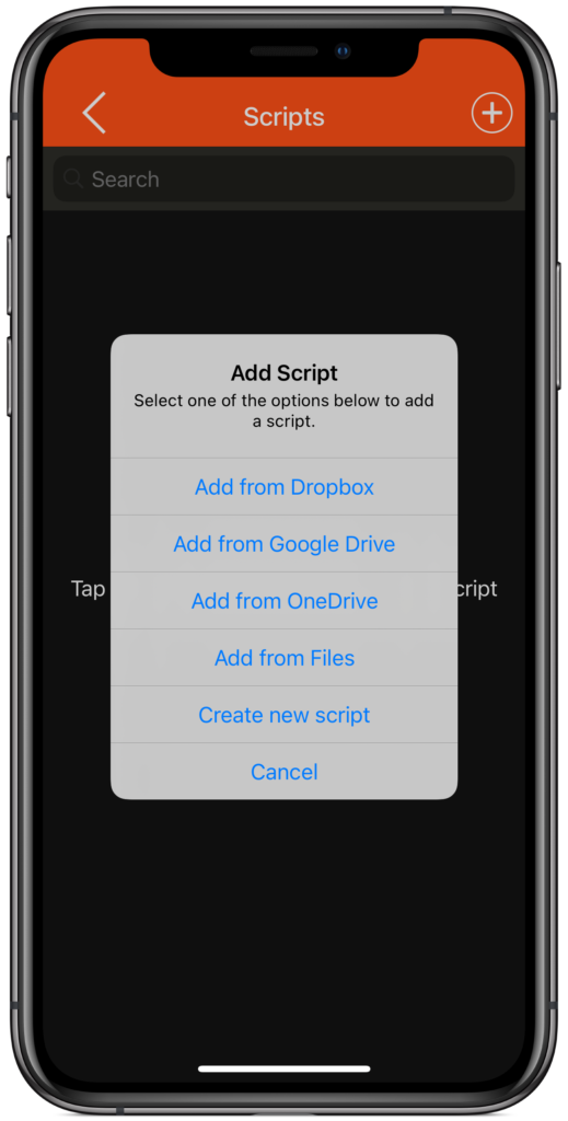 Import scripts from Dropbox, Google Drive, OneDrive, iCloud or Box
