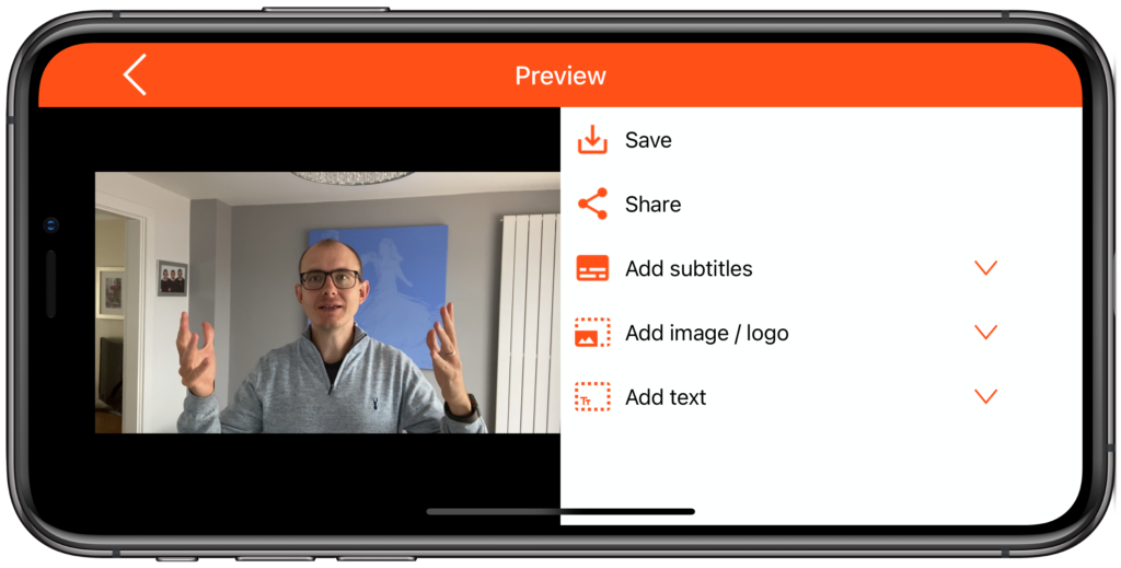 video preview options to save share and add subtitles