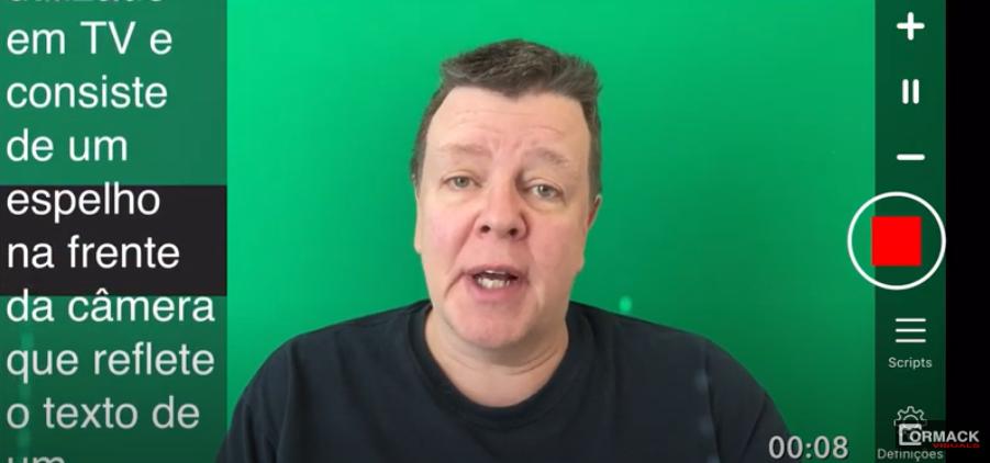 Guia de vídeo para usar o aplicativo de teleprompter