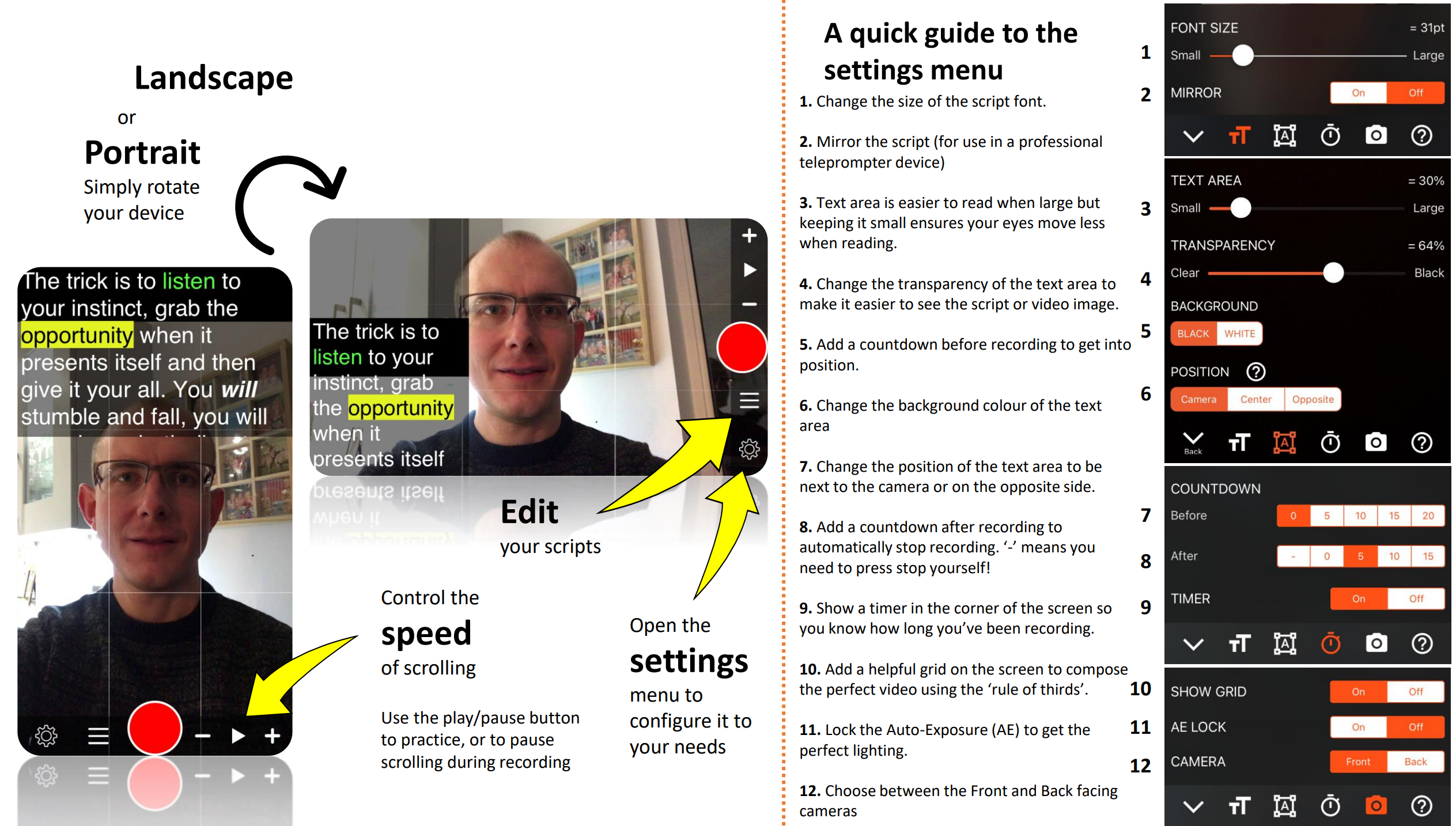One page guide for using teleprompter for video app