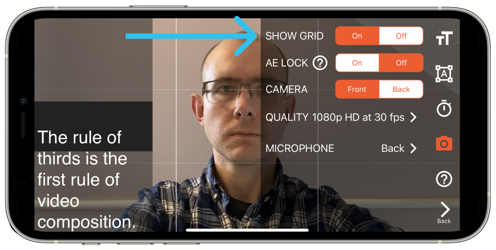 Turn on the Grid option in the settings menu to help you use the Rule of Thirds