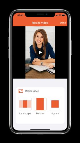 Cambiar el tamaño de los videos a retrato horizontal o cuadrado para redes sociales